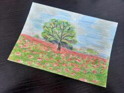 obrazek namalowany kredkami świecowymi